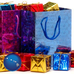 gift bags and boxes - with Hawaii icon