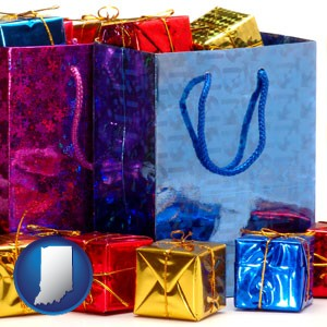 gift bags and boxes - with Indiana icon