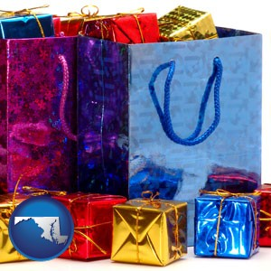 gift bags and boxes - with Maryland icon