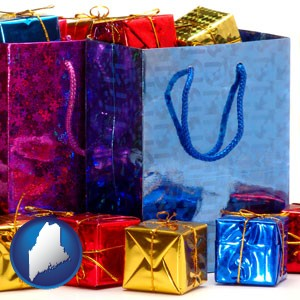 gift bags and boxes - with Maine icon