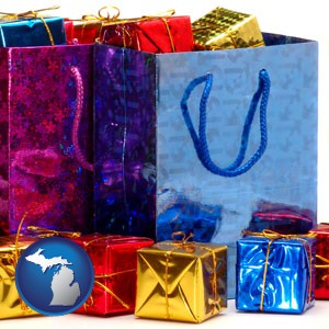 gift bags and boxes - with Michigan icon