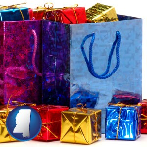 gift bags and boxes - with Mississippi icon