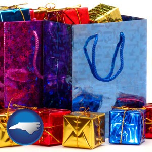 gift bags and boxes - with North Carolina icon