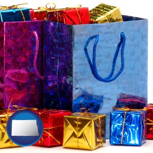 gift bags and boxes - with North Dakota icon