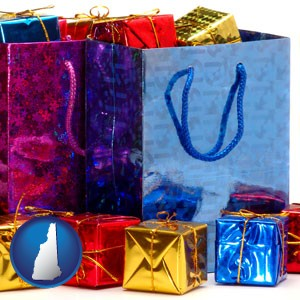 gift bags and boxes - with New Hampshire icon