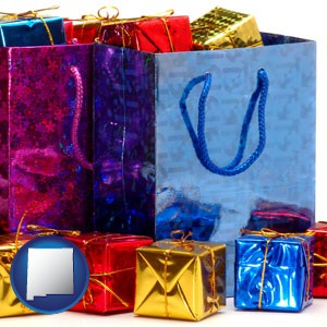 gift bags and boxes - with New Mexico icon