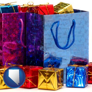 gift bags and boxes - with Nevada icon