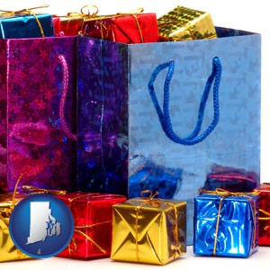 gift bags and boxes - with Rhode Island icon