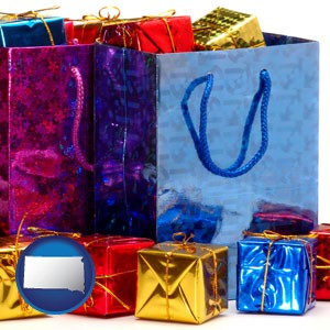 gift bags and boxes - with South Dakota icon