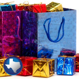 gift bags and boxes - with Texas icon