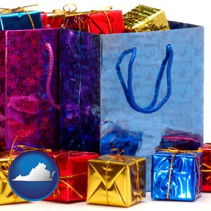 gift bags and boxes - with Virginia icon