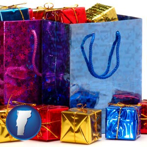 gift bags and boxes - with Vermont icon