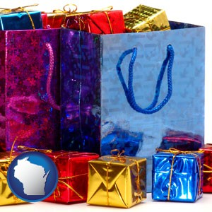 gift bags and boxes - with Wisconsin icon