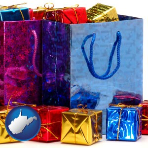 gift bags and boxes - with West Virginia icon