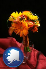 alaska map icon and a bridal flower bouquet