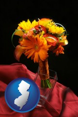 new-jersey map icon and a bridal flower bouquet
