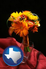 texas map icon and a bridal flower bouquet