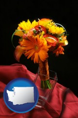 washington map icon and a bridal flower bouquet