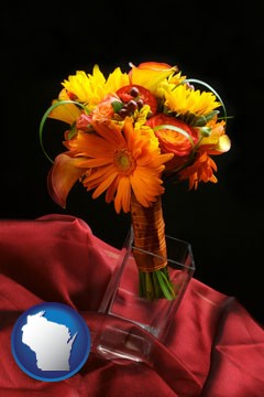 a bridal flower bouquet - with Wisconsin icon