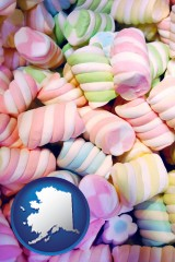 alaska map icon and colorful candies