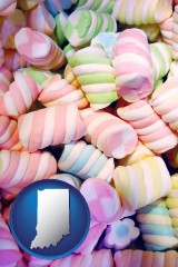 indiana map icon and colorful candies