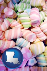 louisiana map icon and colorful candies
