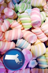massachusetts map icon and colorful candies