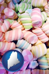 maine map icon and colorful candies