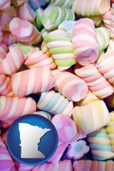 minnesota map icon and colorful candies