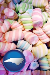 north-carolina map icon and colorful candies