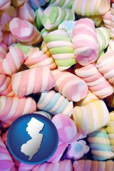 new-jersey map icon and colorful candies