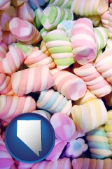 nevada map icon and colorful candies