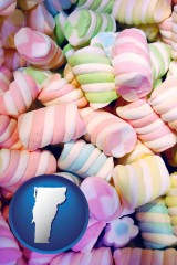 vermont map icon and colorful candies