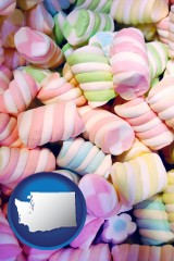 washington map icon and colorful candies