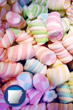 colorful candies - with Arkansas icon