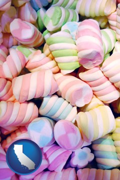 colorful candies - with California icon