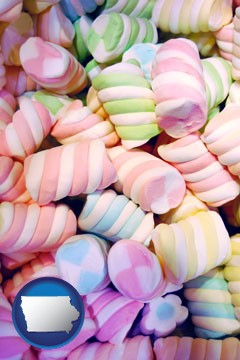 colorful candies - with Iowa icon