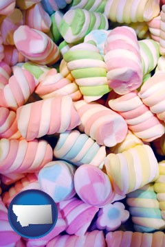 colorful candies - with Montana icon