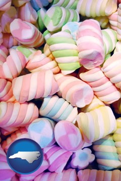 colorful candies - with North Carolina icon