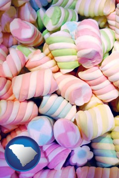colorful candies - with South Carolina icon