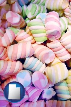 colorful candies - with Utah icon