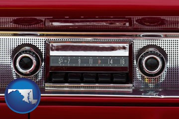 a vintage car radio - with Maryland icon