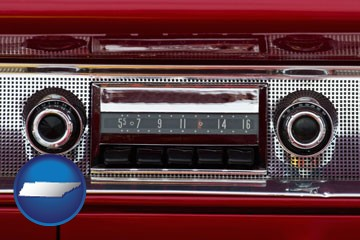 a vintage car radio - with Tennessee icon