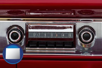 a vintage car radio - with Wyoming icon