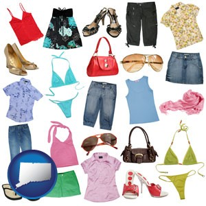 female clothing and accessories - with Connecticut icon