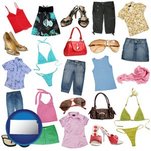 female clothing and accessories - with Kansas icon