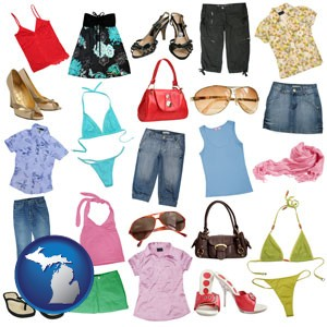 female clothing and accessories - with Michigan icon