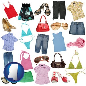 female clothing and accessories - with Mississippi icon