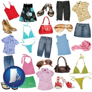 female clothing and accessories - with Rhode Island icon