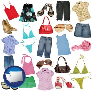 female clothing and accessories - with Washington icon